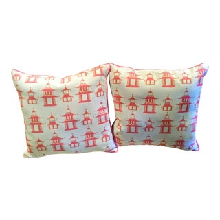 A Pair New Pink Pagoda Chinoiserie Palm Beach Regency Throw Pillows For Sale