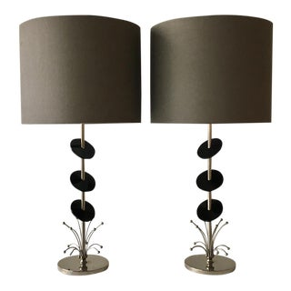 Rembrandt Nickel Plated Table Lamps 1950s For Sale