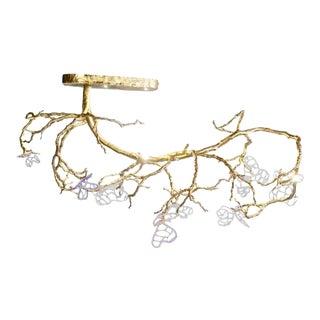 Organic Sculptural Brass Art Glass Chandelier For Sale