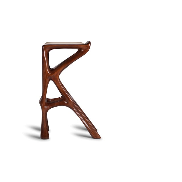 Animal Skin Amorph Chimera Bar Stool, Stained Walnut For Sale - Image 7 of 13