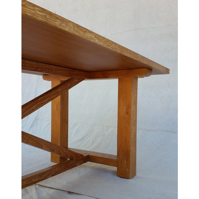 Vintage Pickled Teak Trestle Table For Sale - Image 10 of 11