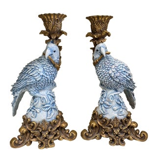 1980's Vintage Chrisdon Parrot Candlestick Holders- A Pair For Sale