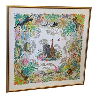 Framed Gucci V Accornero Jungle Silk Scarf For Sale