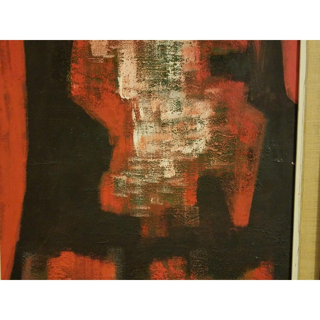 Mid-Century Abstract Oil Painting - Image 5 of 8