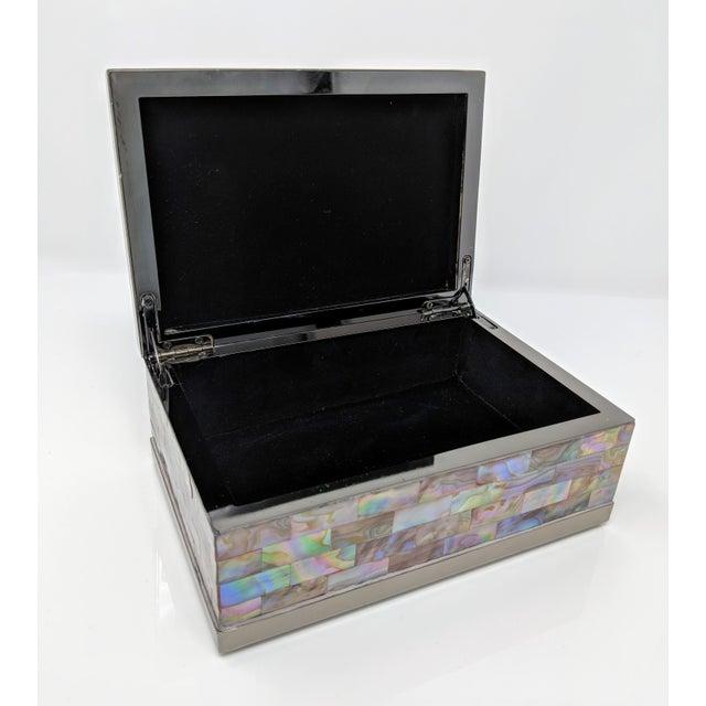Jonathan Adler Inspired Polish Gun Metal & Abalone Shell Box For Sale - Image 10 of 12