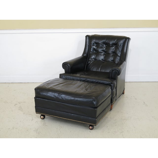 Sherrill Black Leather Club Chair & Ottoman For Sale - Image 13 of 13