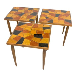Mid-Century Modernist Georges Briard Wood and Glass Mosaic Side Table, a Trio For Sale