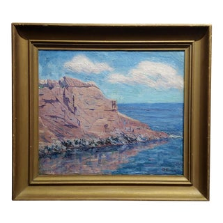 Cliff Seascape -California Impressionist Oil Painting C.1920s For Sale