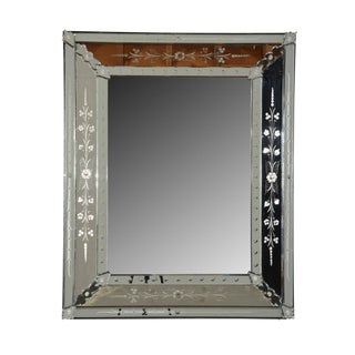 Italian Venetian-Style Etched Mirror For Sale