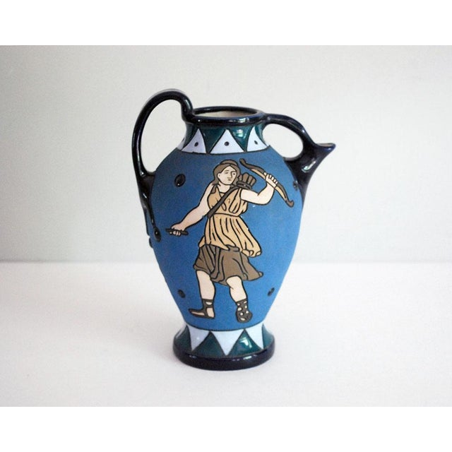 Striking antique Czech / Czechoslovakian Amphora pitcher or ewer, dating to the 1920s, featuring an Art Deco design with a...