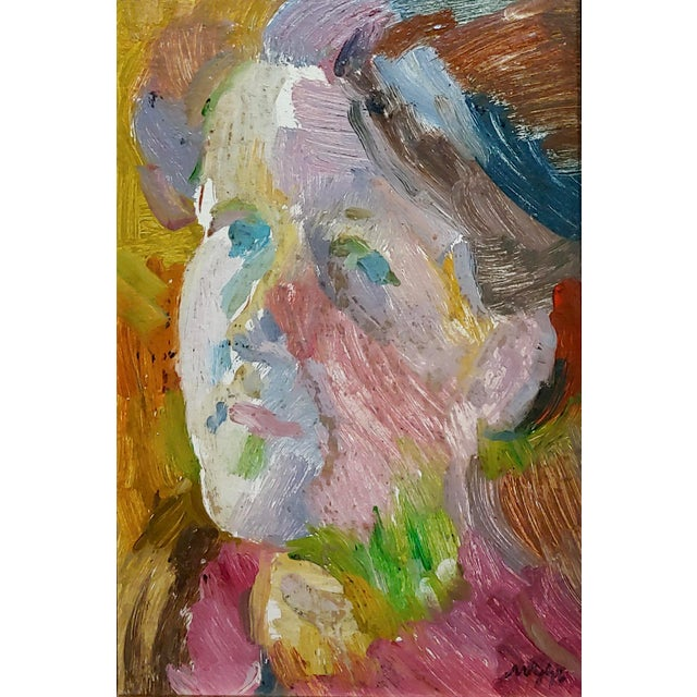 Modern S. Cohen - Male Face Portrait - Oil Painting For Sale - Image 3 of 9