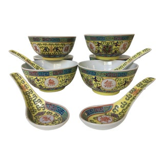 20th Century Yellow Chinoiserie Porcelain Six Rice Bowls and Four Spoons - 10 Piece Set For Sale