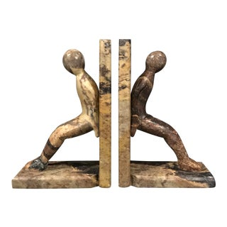 Carved Stone Figural Bookends - a Pair For Sale