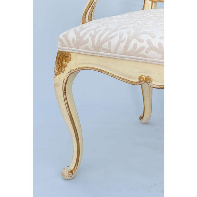 Pair of Painted & Parcel Gilt Armchairs For Sale - Image 4 of 9