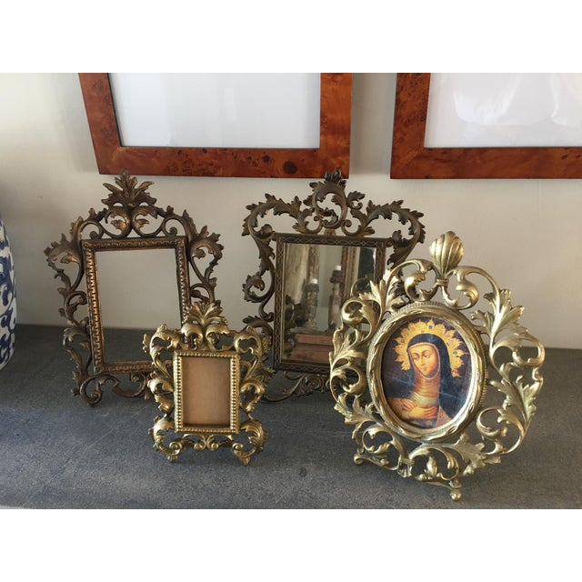 Gold Vintage Roccoco Victorian Brass Frames - Set of 4 For Sale - Image 8 of 8