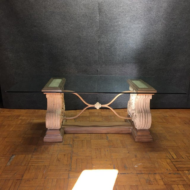 Italian Double Pedestal Stone Base Dining Table W/ Beveled Glass Top For Sale - Image 3 of 10