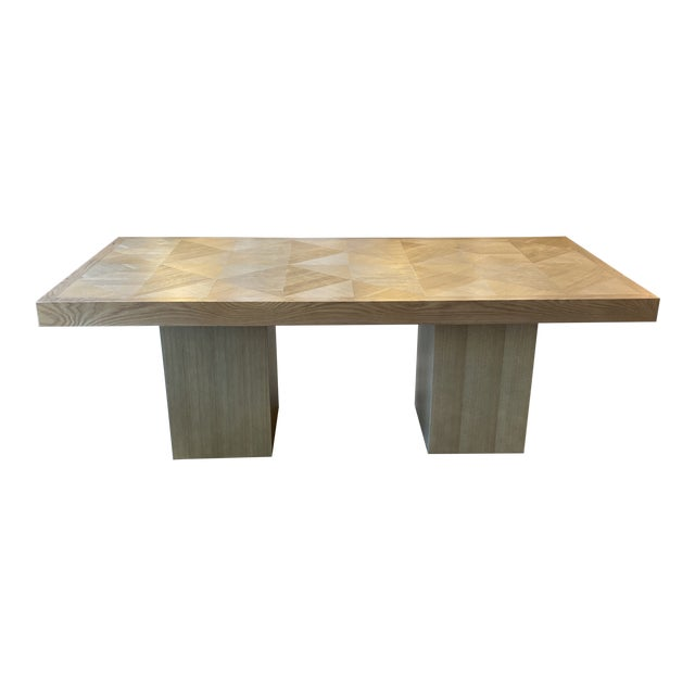 Custom Modern Oak Inlay Dining Table For Sale