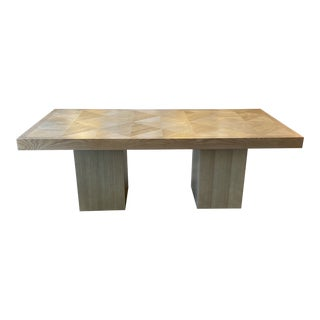 Custom Rustic Modern Graywash Oak Inlay Dining Table For Sale