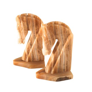 Onyx Trojan Bookends - A Pair For Sale