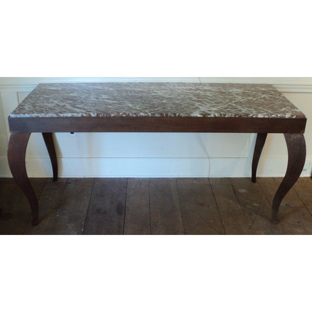 Custom Designed Metal & Marble Console Hall Table - Image 3 of 11