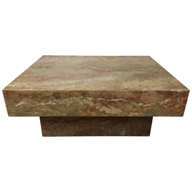 Marble Substantial Rectangular Marble Cocktail Table For Sale - Image 7 of 7