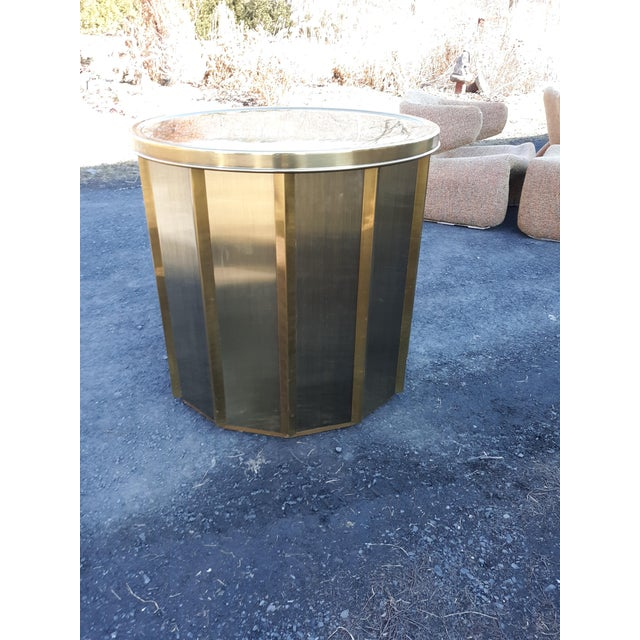 Hollywood Regency Mastercraft Brass Octagonal Faceted Dining Table For Sale - Image 3 of 13