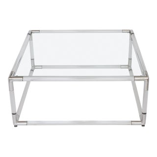 Lucite & Aluminum Square Coffee Table For Sale