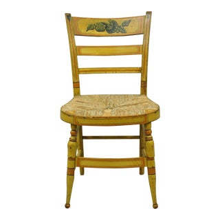 Early 19th C Bentwood Slat Back Rush Seat Yellow Paint Stenciled Dining Chair For Sale