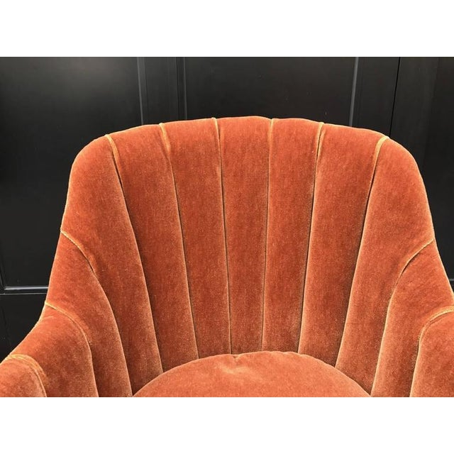 1940s French Art Deco Side Chair in Mohair For Sale - Image 5 of 5