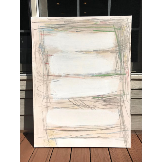 """White """"Spacey"""" Contemporary Abstract Mixed Media Painting by Sarah Trundle For Sale - Image 8 of 8"""