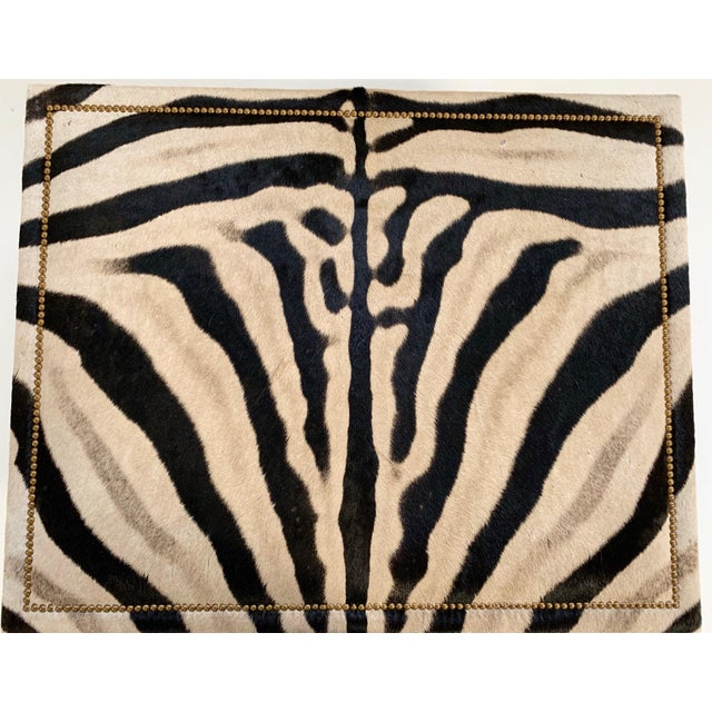 Gold Forsyth Zebra Hide Parsons Style Ottoman For Sale - Image 8 of 11