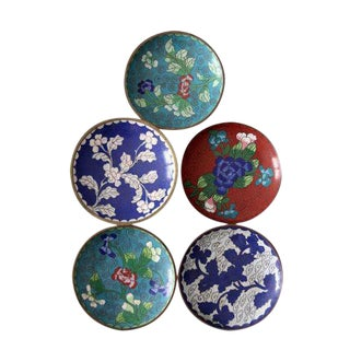 Antique Chinese Cloisonne Plates - Set of 5 For Sale