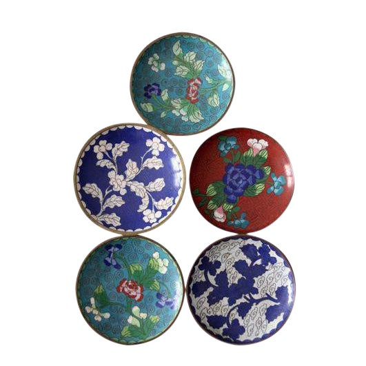 Antique Chinese Cloisonne Plates - Set of 5 - Image 1 of 8