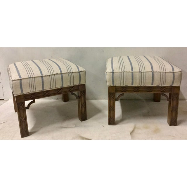 Pair of Chinese Chippendale Style Ottomans For Sale - Image 4 of 8