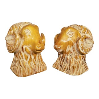 Sarreid Spain Carved Wood Rams Head Bookends - a Pair For Sale