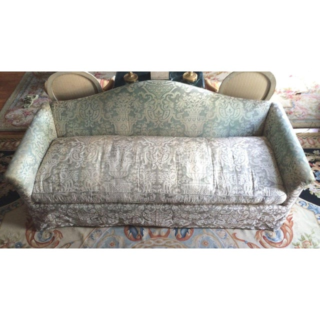 Fortuny Covered Camel-Back Sofa with Rolled Arms - Image 2 of 10