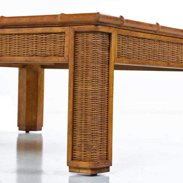 1970s Modern Glass Panel Reed Rattan Bamboo Coffee Table For Sale - Image 4 of 8