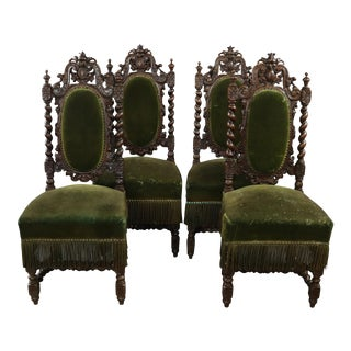 Hunting Renaissance Captains Dining Chair - Set of 4 For Sale