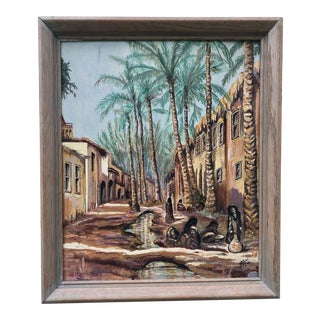 Mid 20th Century Figurative Village Scene Oil Painting, Framed For Sale