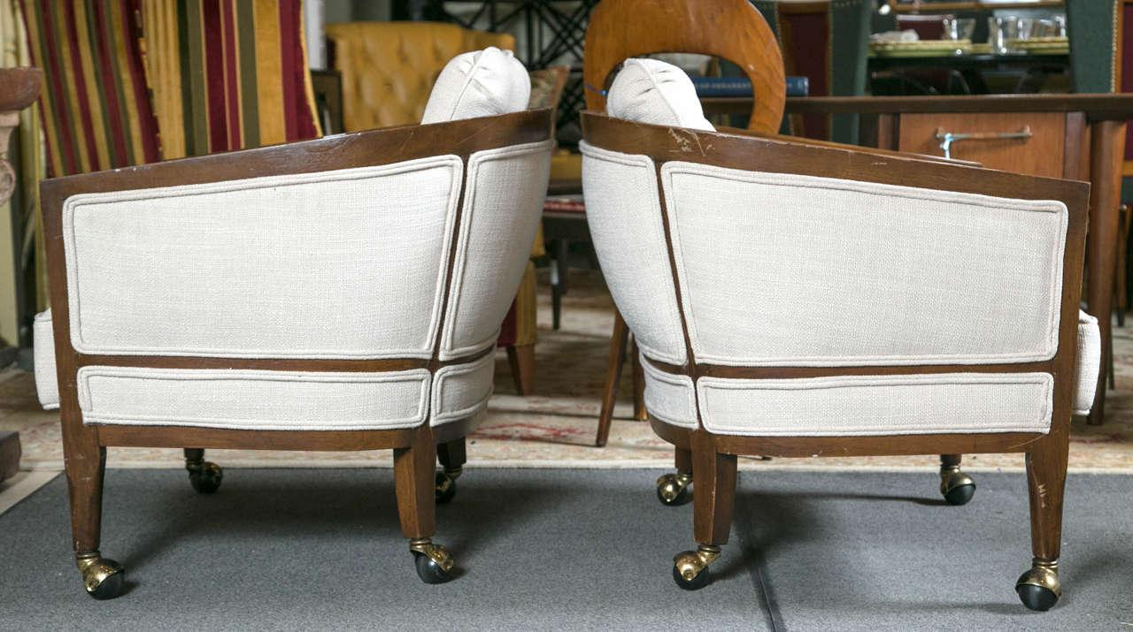 Mid Century Modern Mid Century Club Chairs On Casters   A Pair For Sale