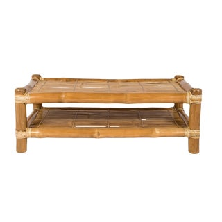 Boho Chic Bamboo Coffee Table With Natural Finish For Sale