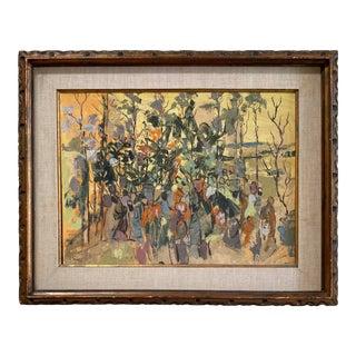 """Indaba on Safari"" De Waal Von Maltitz Impressionistic Surrealism Painting For Sale"
