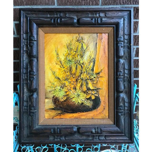 1930s Vintage Ann Rugh Backer 'Golden Floral' Original Oil Painting For Sale - Image 4 of 4