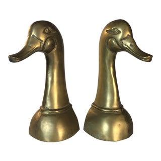 Brass Mallard Bookends - A Pair For Sale