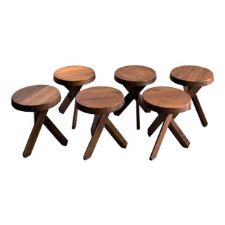 "Pierre Chapo ""Tabourets S31"" - Set of Four Elmwood Stools For Sale"
