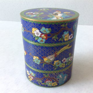 19th Century Antique Chinese Cloisonné Stacking Enamel and Brass Container Decorated With Flowers and Birds Preview