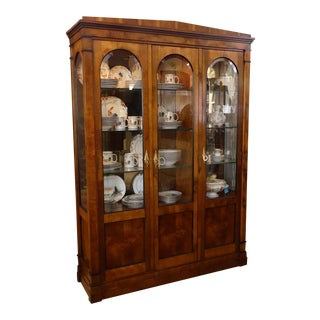 Vintage Century Furniture Mahogany Neoclassical Style China Display Cabinet For Sale