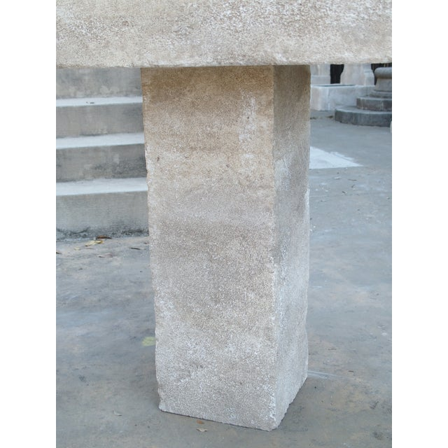 Carved Square Top French Limestone Bistro Table For Sale - Image 10 of 12