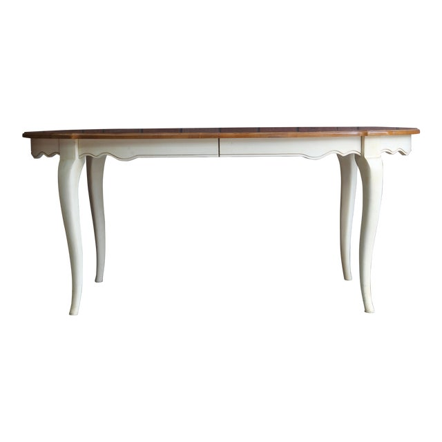 French Country Ethan Allen Oval Extension Dining Table For Sale