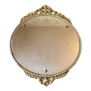 Round Giltwood Carved Etched Mirror For Sale